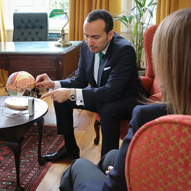 TNS (Trigiminal Nerve Stimulation) demonstration of the handheld device by Dr Mohamed Abdelghani at London TMS Centre